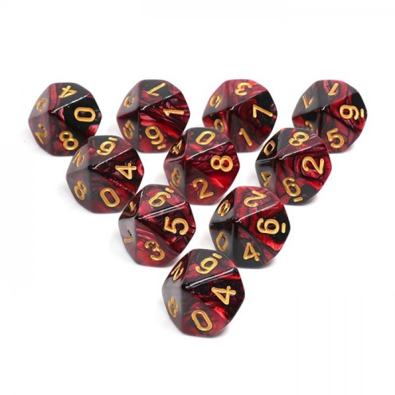 0Lots de 10 dés avec tube- Noir et Rouge