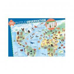 Puzzle Observation - Animaux du Monde (100 pcs + 1 livret)