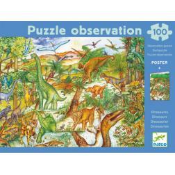 Puzzle observation - Dinosaures (100 pcs + 1 livret)